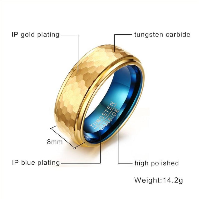 Mens Tungsten Carbide Wedding Ring - Geometric Carving Design
