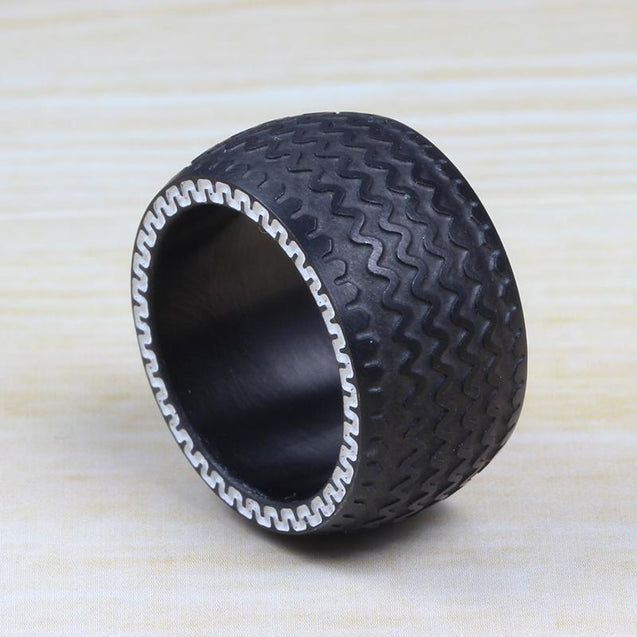 Black Steel Men's Tire Design Ring