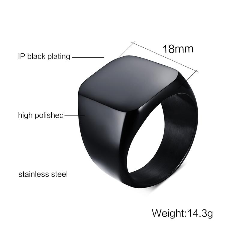 Men's Black Flat Top Ring