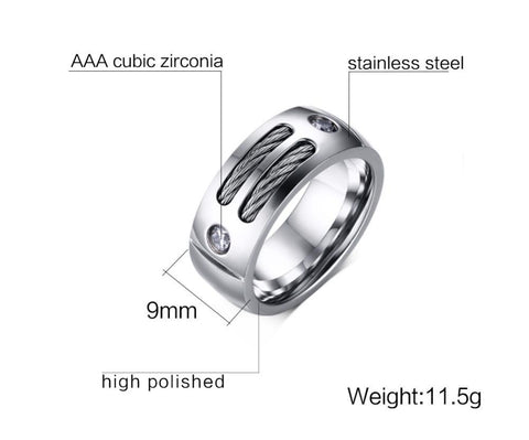 Image of Titanium Black Steel Cable Ring