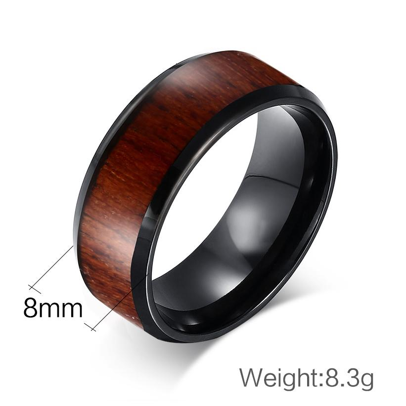 Mens Wood Design Tungsten Carbide Rings