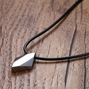 "Pure Tungsten Carbide Rhombus Necklaces Pendants 18"" Rope Chain"