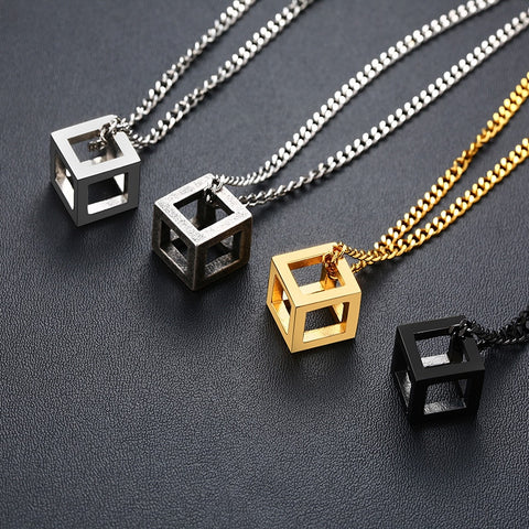 Image of Hollow Square Cube Pendant Necklace For Men