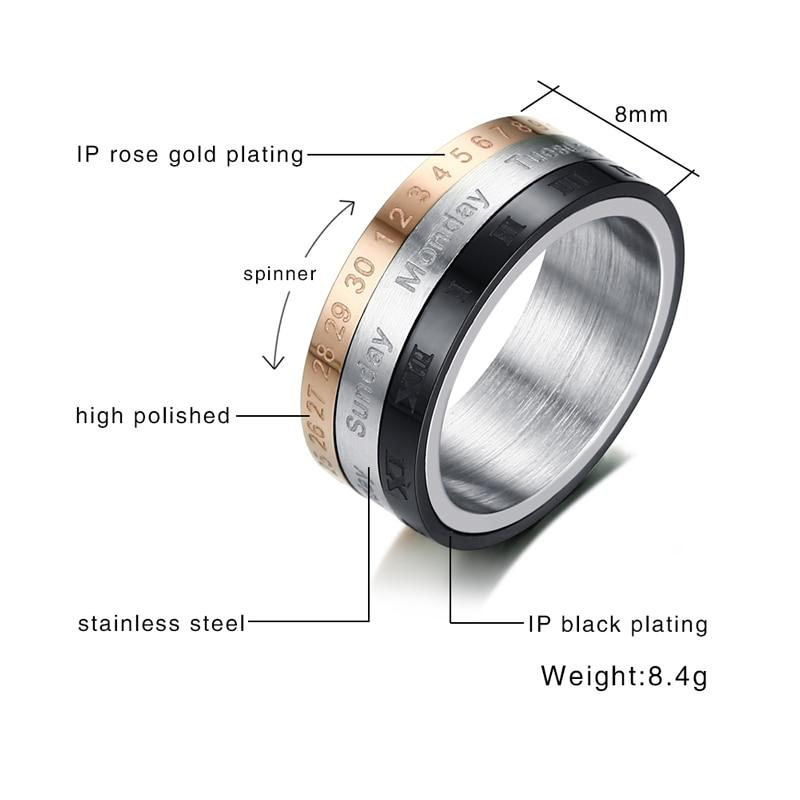 Silver, Rose Gold And Black Stainless Steel Rotating Calendar Ring Unisex