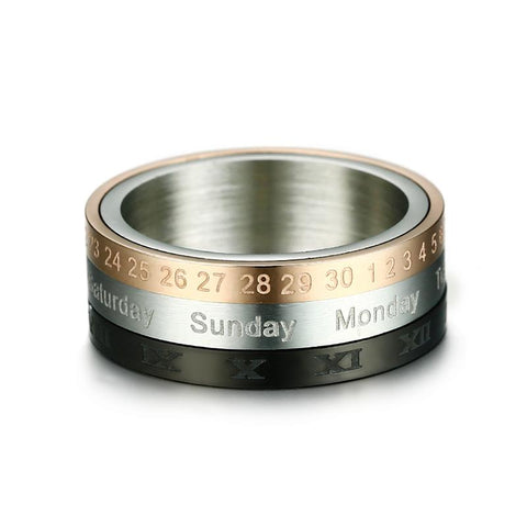 Image of Silver, Rose Gold And Black Stainless Steel Rotating Calendar Ring Unisex