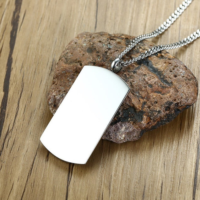 "Simple ID Dog Tag Pendant Necklaces for Men with Cubic Zirconia 24"" Curb Chain"