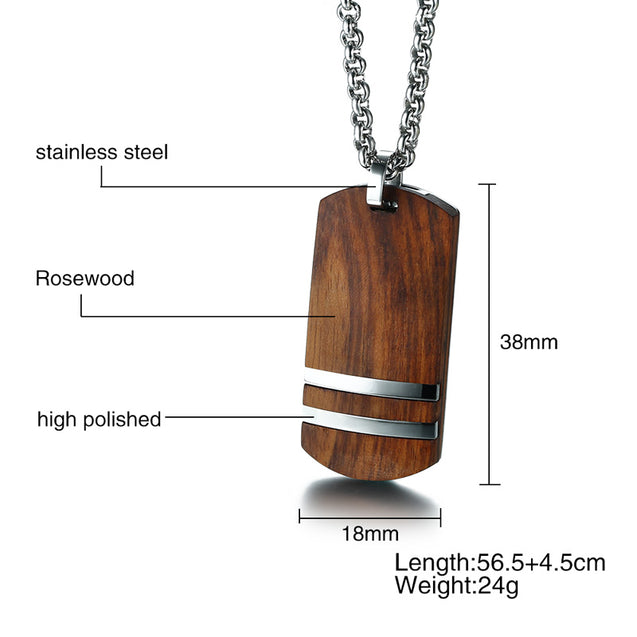 Rosewood Men Dog Tag Necklace Pendants