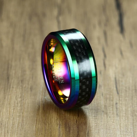 Image of Tungsten Carbide Ring 8MM Multi Color