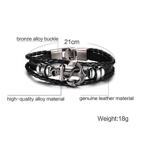 Image of Black Leather Anchor Bracelet