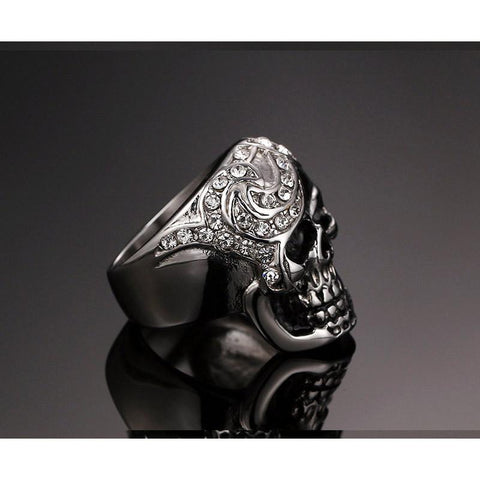Image of Iced Out Biker Skull Ring