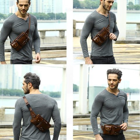 Image of Men's Leather Waist Pack Belt Bag Crossbody Shoulder Bag For Mobile Phone