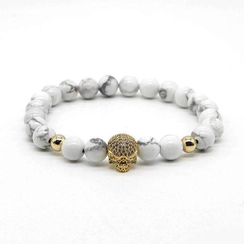 Image of Skull Head and White Stone Beads Bracelet [ 4 Variation ]