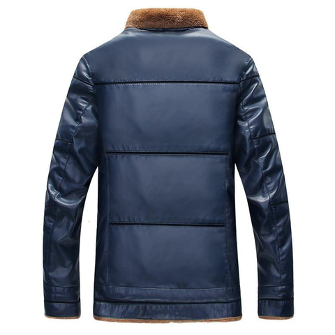Image of Slim Fit Leather Jacket With Fur Collar
