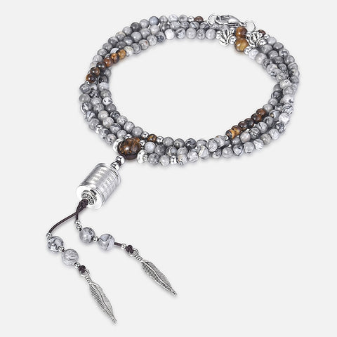 Men's Natural Stone Beaded Necklace Steel Feather Spanish Bible Charm Long Necklace