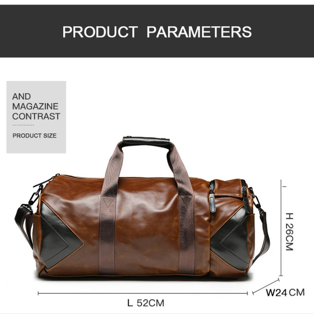 Mens Brown PU Leather Holdall Duffle Bag