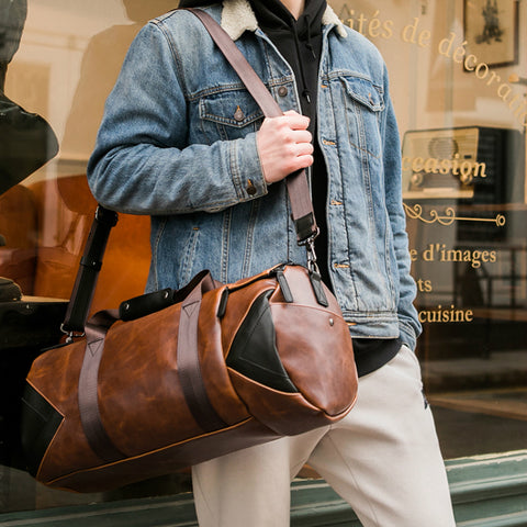 Image of Mens Brown PU Leather Holdall Duffle Bag