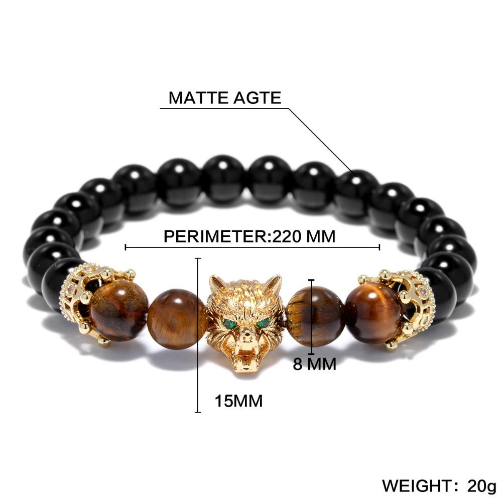 Wolf Head Mens Beaded Bracelet