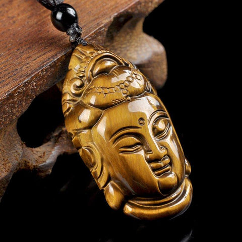 Tiger's Eye Buddha Pendant Necklace