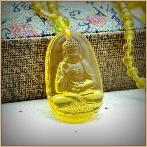 Image of Buddah Yellow Citrine Pandant Necklace