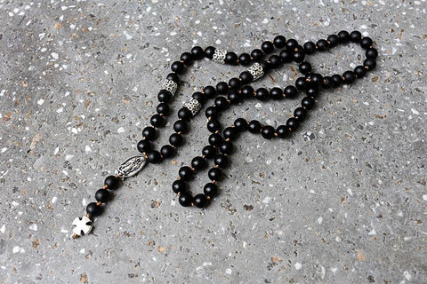 Image of Black Lava Stone Rosary Prayer Cross necklace