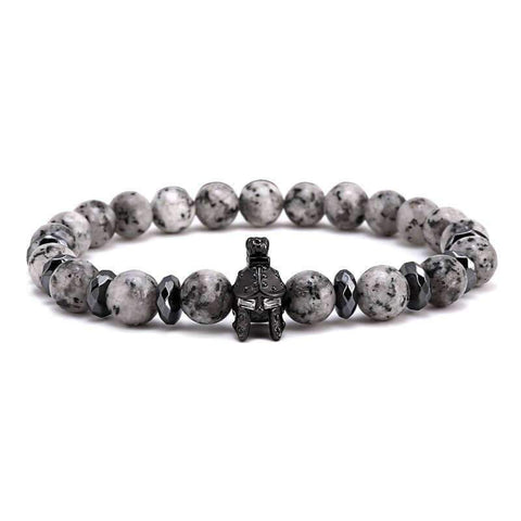 Image of Spartan Warrior Helmet & Natural Agate Stone Bracelet