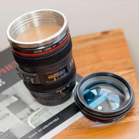 Camera Lens Coffee Mug Stainless Steel Thermos Lined & Lid