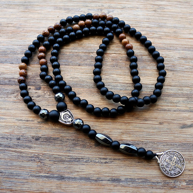 6MM Black Stone & Wood Bead Men's Rosaries Necklace