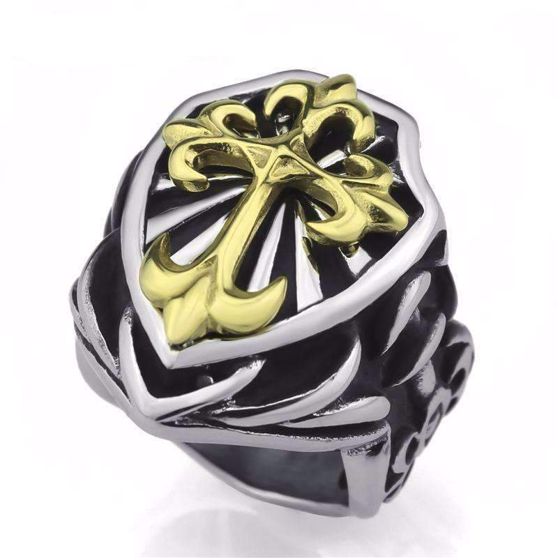 gold Cross Knight Ring