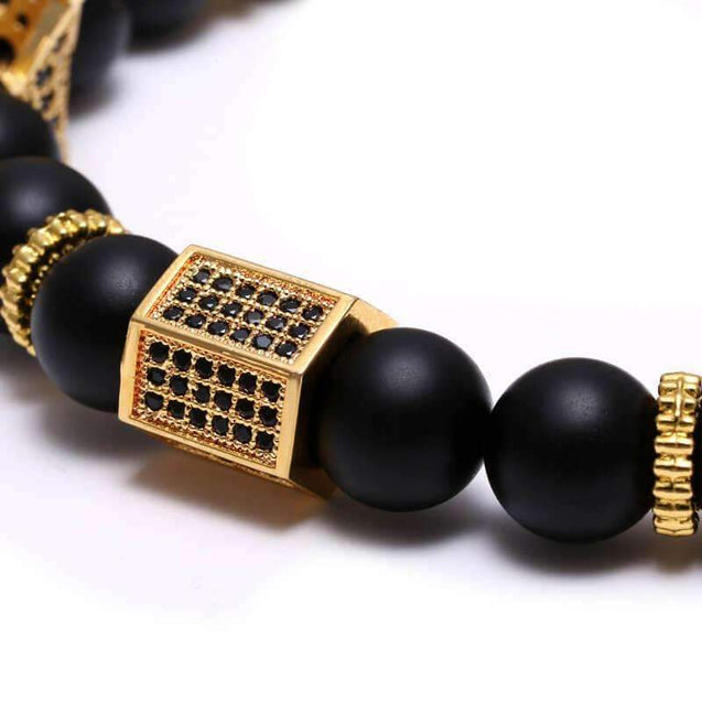 Mens Black King Crown Bracelet