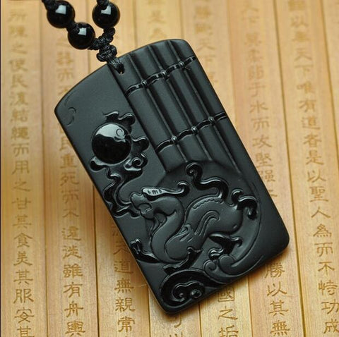 Image of Black Obsidian Pendant Carving Dragon Necklace