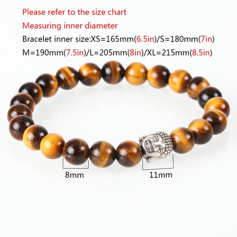 Image of 3 Set/PCS Buddha Tiger Eye and Blue Agate Beaded Bracelets
