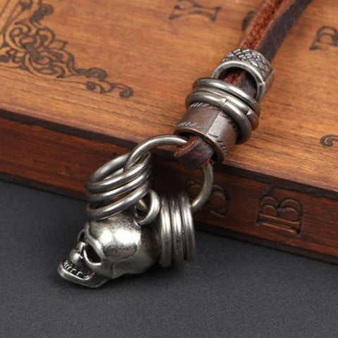 Mens Leather Necklace With Skull Pendant