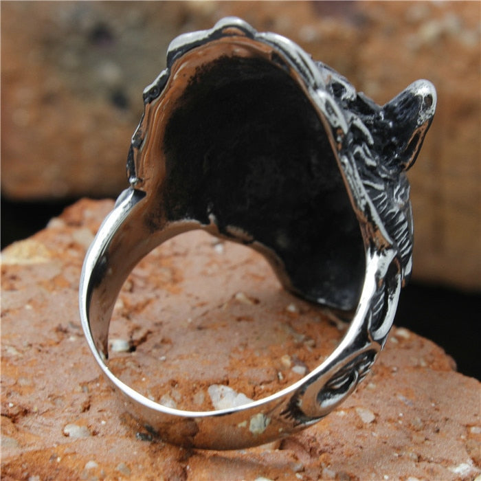 size 8 to 15 Mens Stainless Steel Flaming Wolf Ring