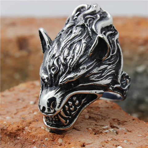 Image of size 8 to 15 Mens Stainless Steel Flaming Wolf Ring