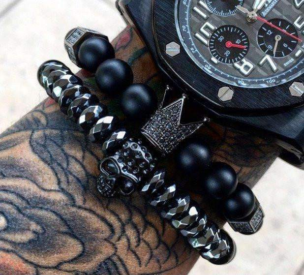 Crown Bracelet & Skull Bracelet Set