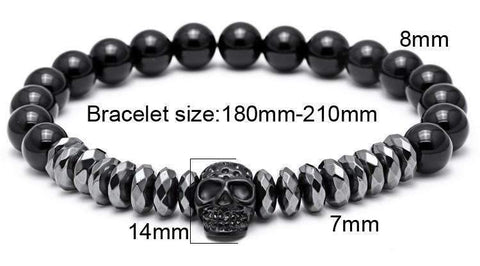 Titanium Skull, Crown And Onyx Natural Stone Bracelets