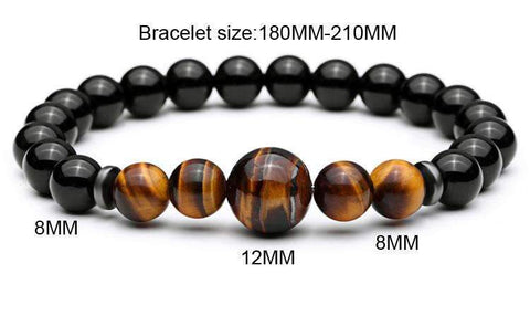 Tiger Eye & Lava Stone Bead Men's Bracelet [2PCE/SET]