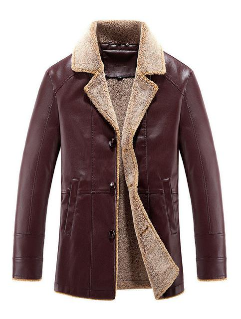 Men's Fur Collar Leather Jacket Slim Fit