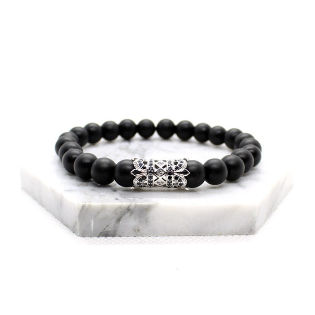 Mens Black Beaded Bracelet With Silver Charm