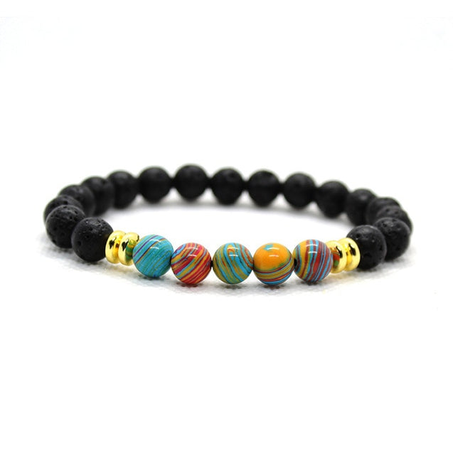 Mens Blue Lava Stone Beaded Bracelet Men