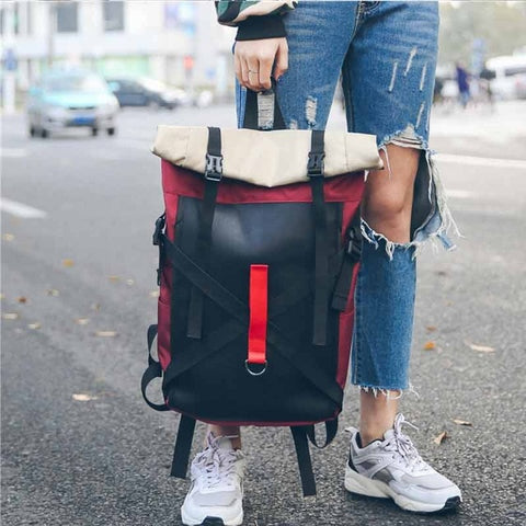 Unisex Black Roll Top Casual Backpack With Red Stripe