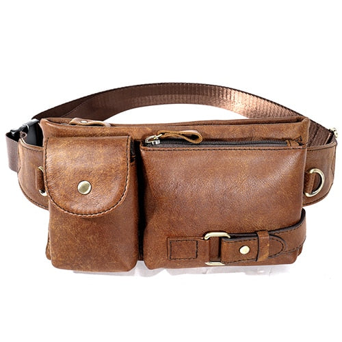 Men's Leather Waist Pack Belt Bag Crossbody Shoulder Bag For Mobile Phone