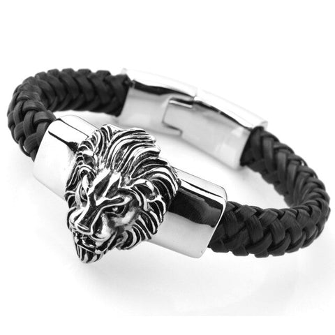 Image of Mens Leather Lion Head Bracelet