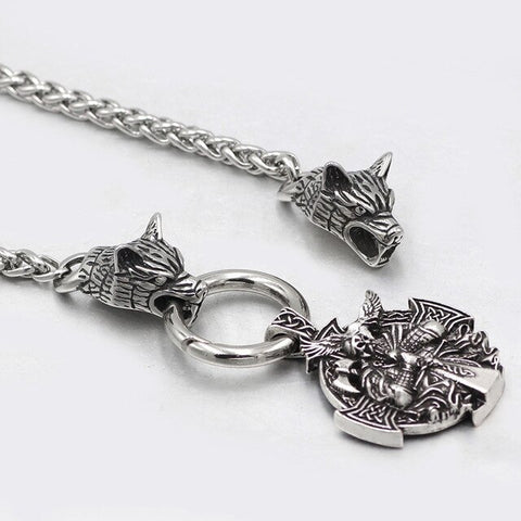 Viking Odin Warrior Raven Pendant Necklace Stainless Steel Wolf Head Chain Men Necklace Jewelry