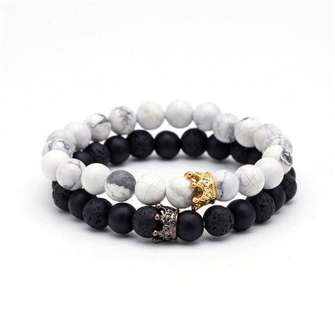 Image of Vareno Beaded Crown Bracelet Set