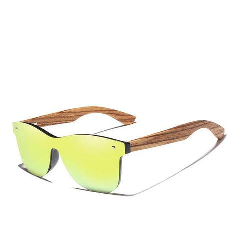 Image of mens wooden sunglasses green
