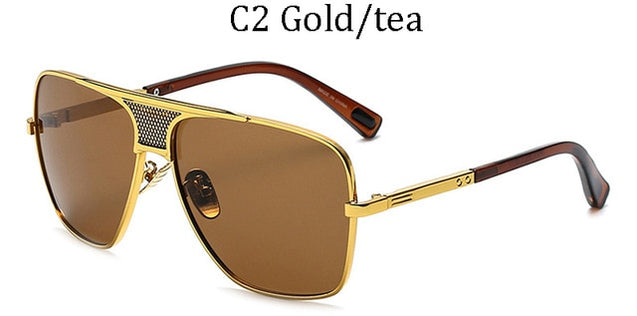 Fashion Metal Gradient Square Frame Men's Sunglasses