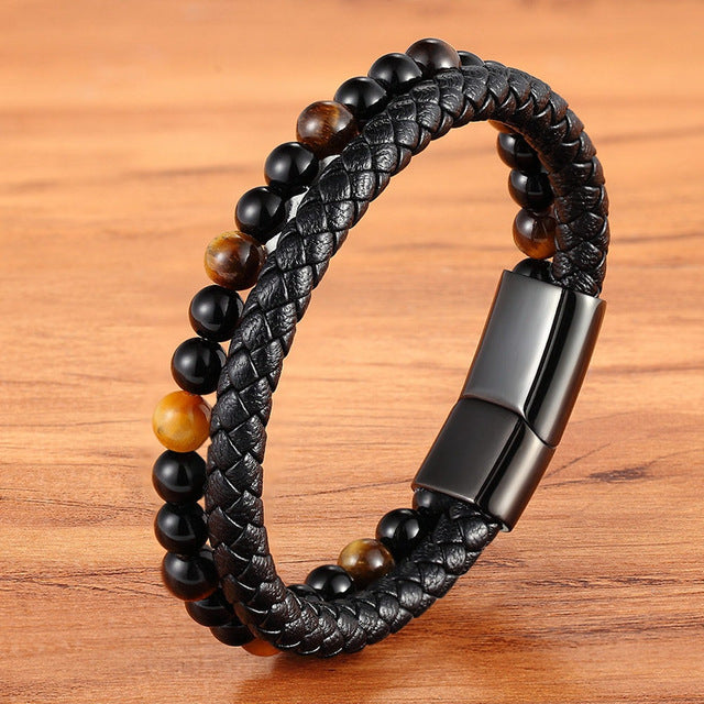 Leather And Tiger Eye Beaded Bracelet