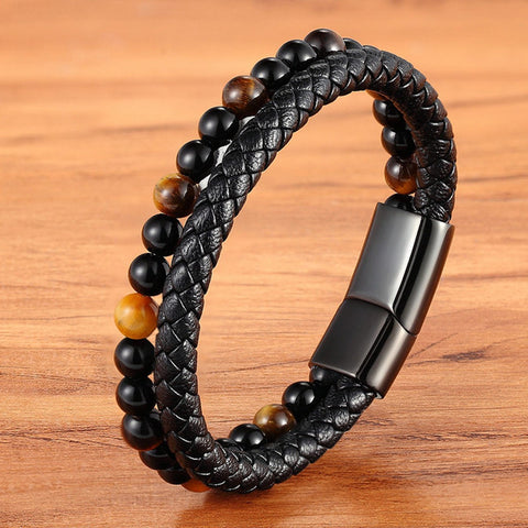 Image of Leather And Tiger Eye Beaded Bracelet