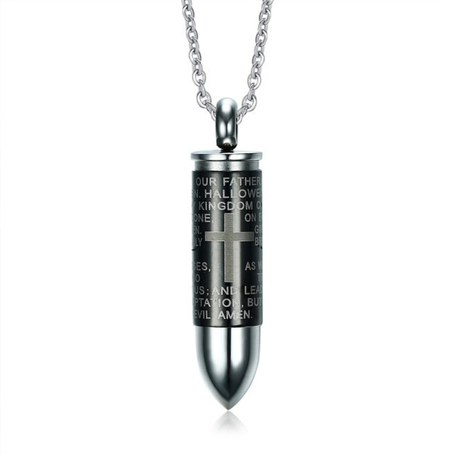 Openable Bullet Pendant for Men Engraved Cross Lord Bible Prayer Necklace